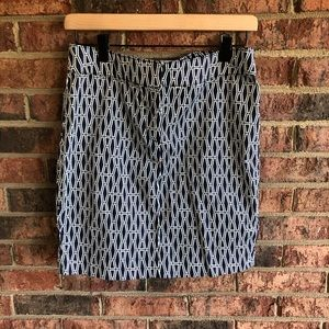 {ELLEN TRACY} NWOT Navy White Patterned Mini Skirt